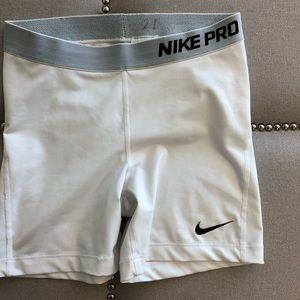 White Nike Pro Shorts